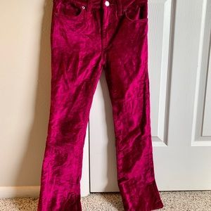 Free people crushed velvet look cropped/flare jean